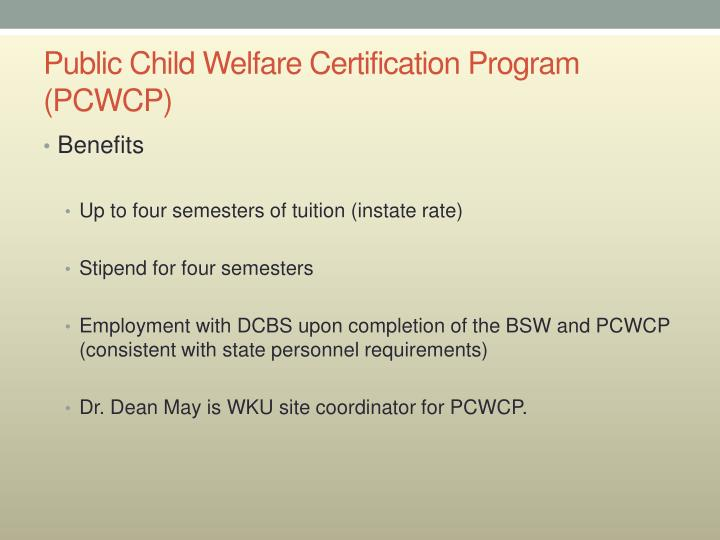 Public Child Welfare Certification Program (PCWCP)