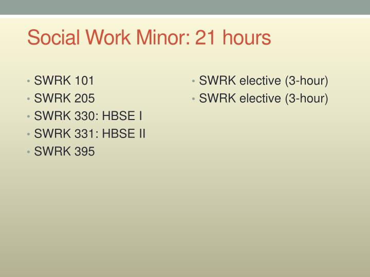 Social work minor 21 hours