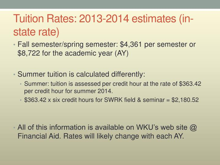 Tuition Rates: 2013-2014 estimates (in-state rate)