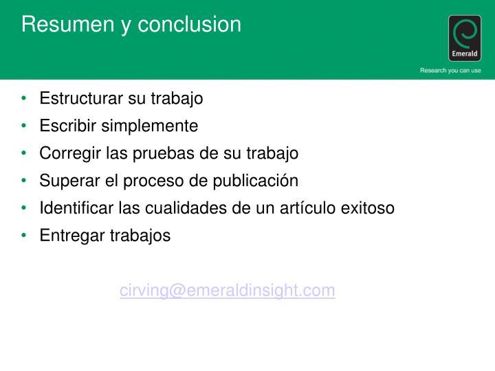 Resumen y conclusion