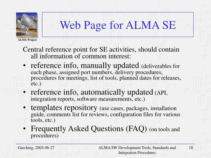 Web Page for ALMA SE