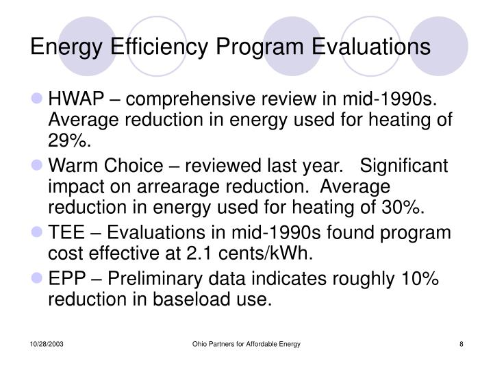 Energy Efficiency Program Evaluations