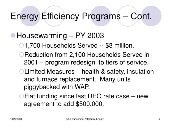 Energy Efficiency Programs – Cont.