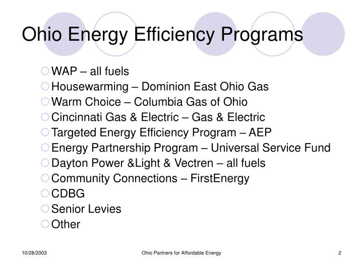 Ohio energy efficiency programs