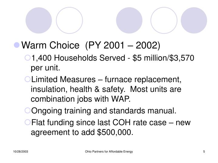 Warm Choice  (PY 2001 – 2002)