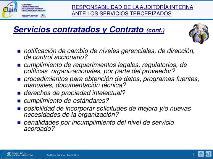 Servicios contratados y Contrato
