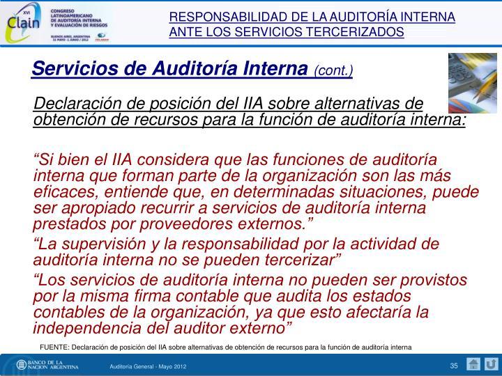 Servicios de Auditoría Interna