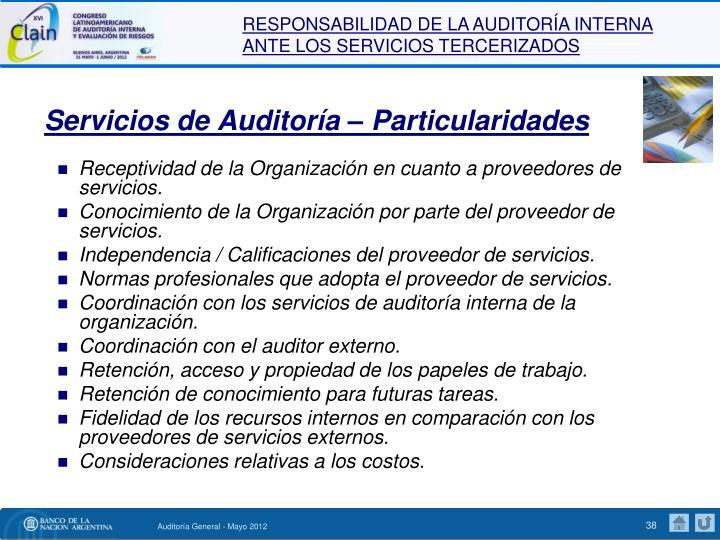 Servicios de Auditoría – Particularidades