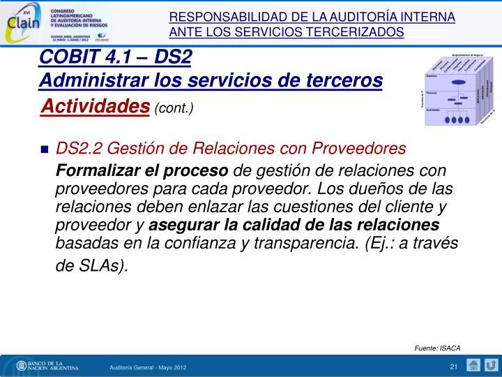 COBIT 4.1 – DS2
