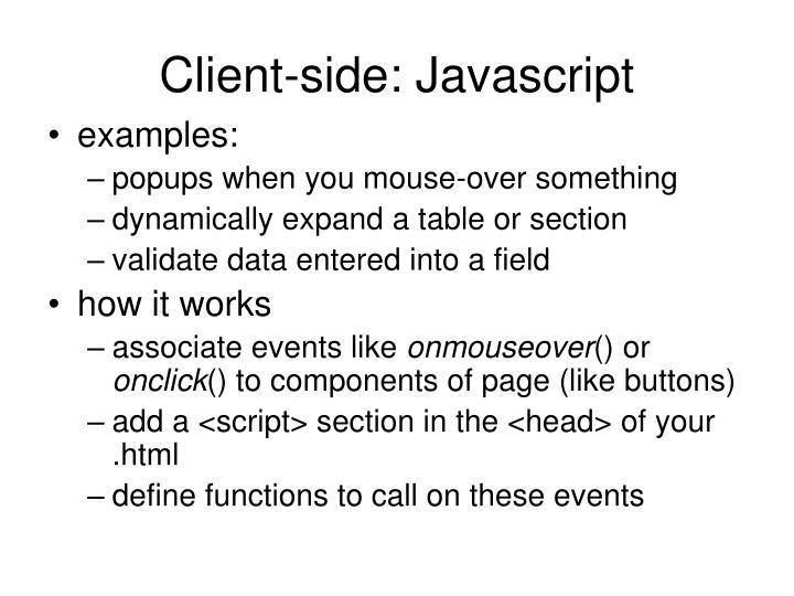 Client-side: Javascript