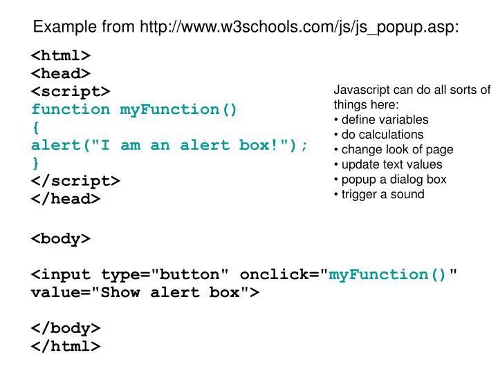 Example from http://www.w3schools.com/js/js_popup.asp: