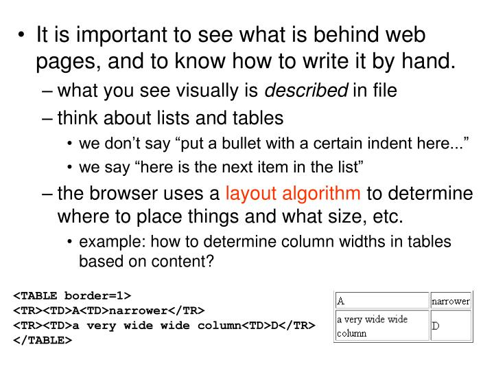 It is important to see what is behind web pages, and to know how to write it by hand.