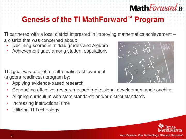 Genesis of the TI MathForward