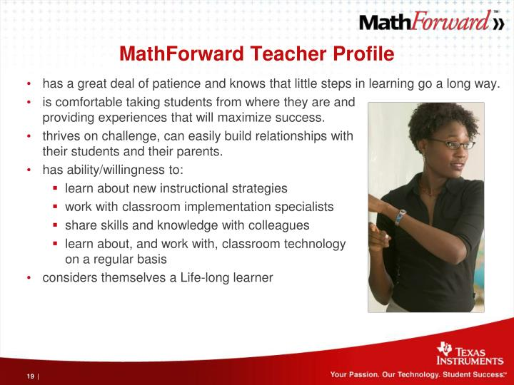MathForward Teacher Profile