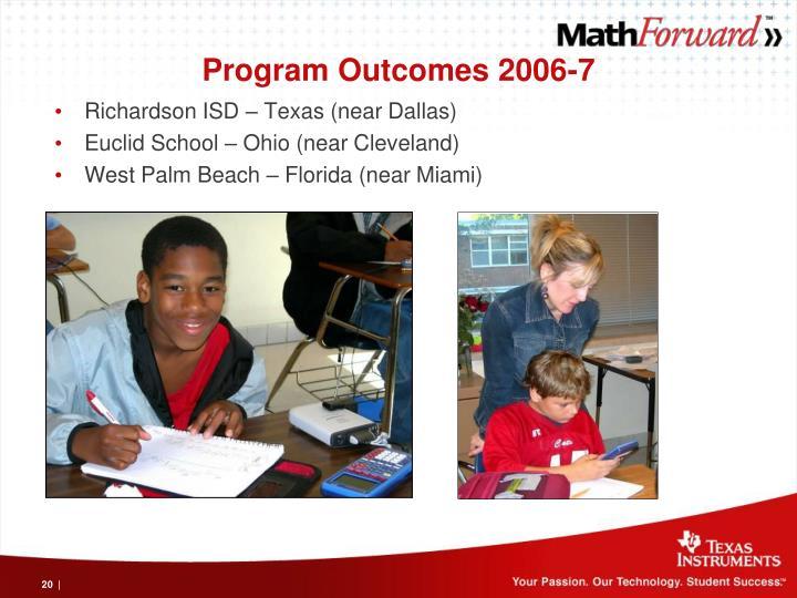 Program Outcomes 2006-7