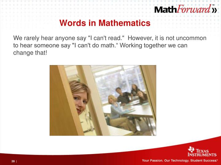 Words in Mathematics