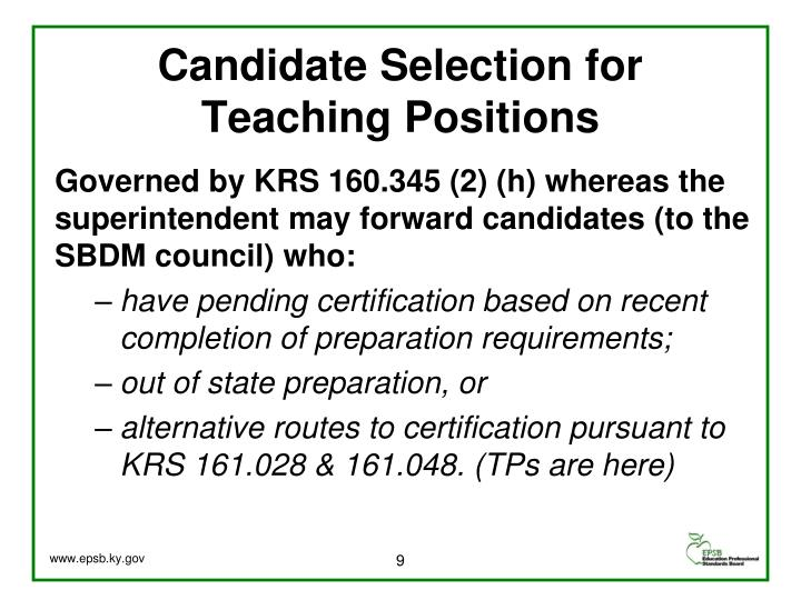 Candidate Selection for