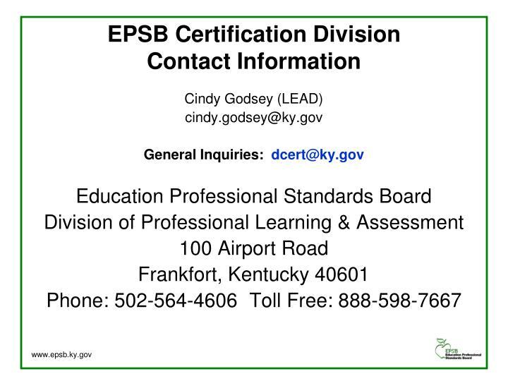 EPSB Certification Division