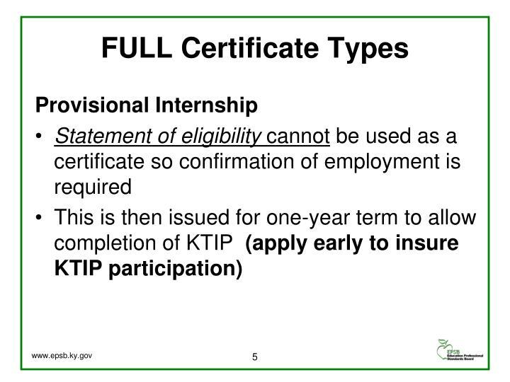 FULL Certificate Types