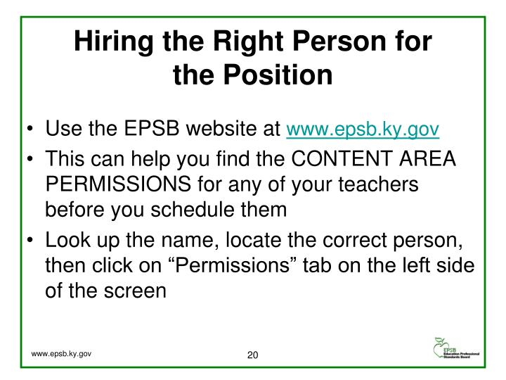 Hiring the Right Person for