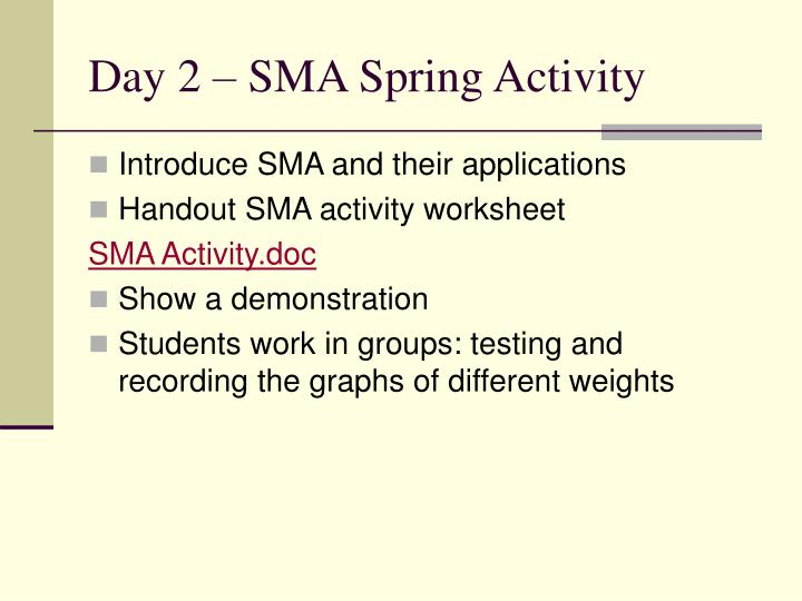 Day 2 – SMA Spring Activity