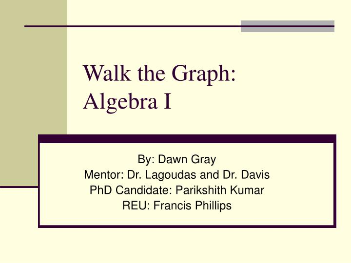 Walk the graph algebra i