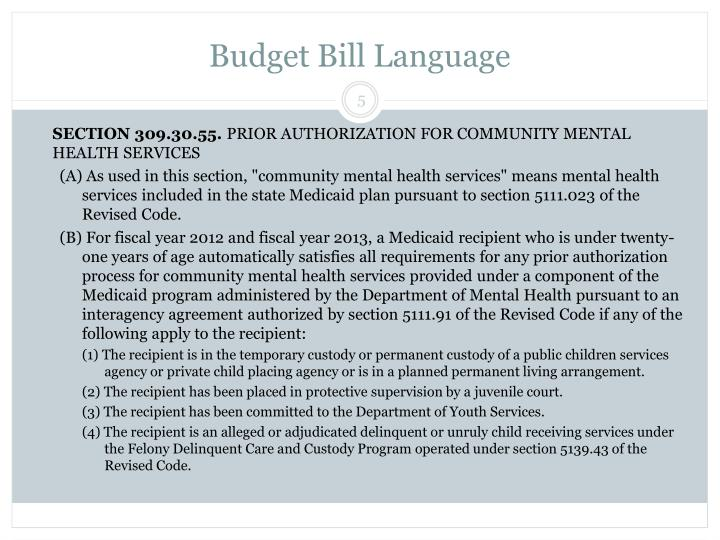 Budget Bill Language