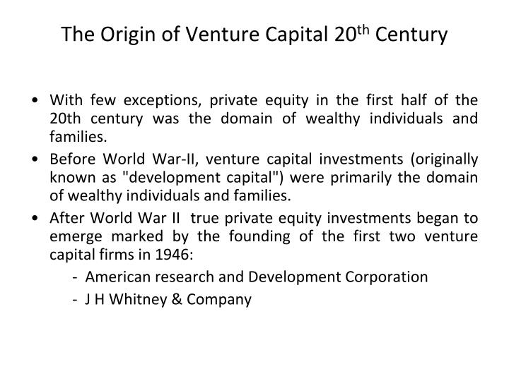The Origin of Venture Capital 20