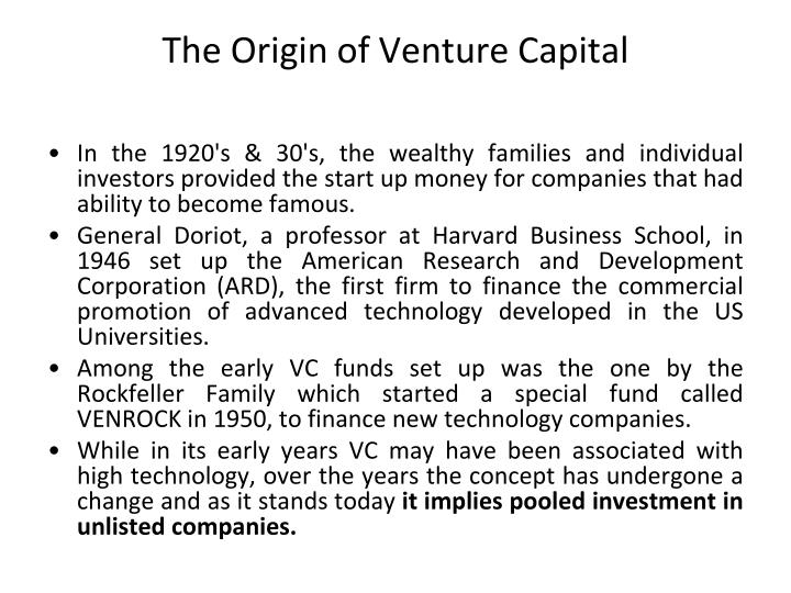 The Origin of Venture Capital
