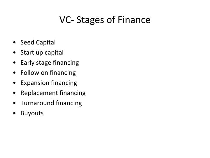 VC- Stages of Finance
