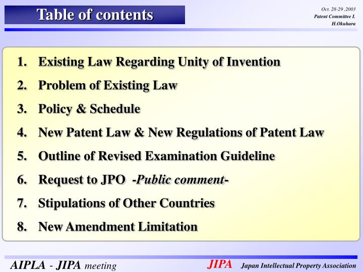 Existing Law Regarding Unity of Invention