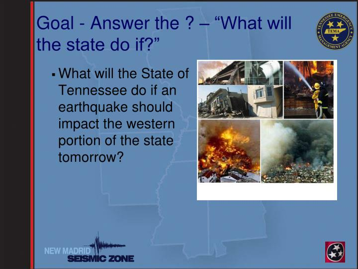 """Goal - Answer the ? – """"What will the state do if?"""""""