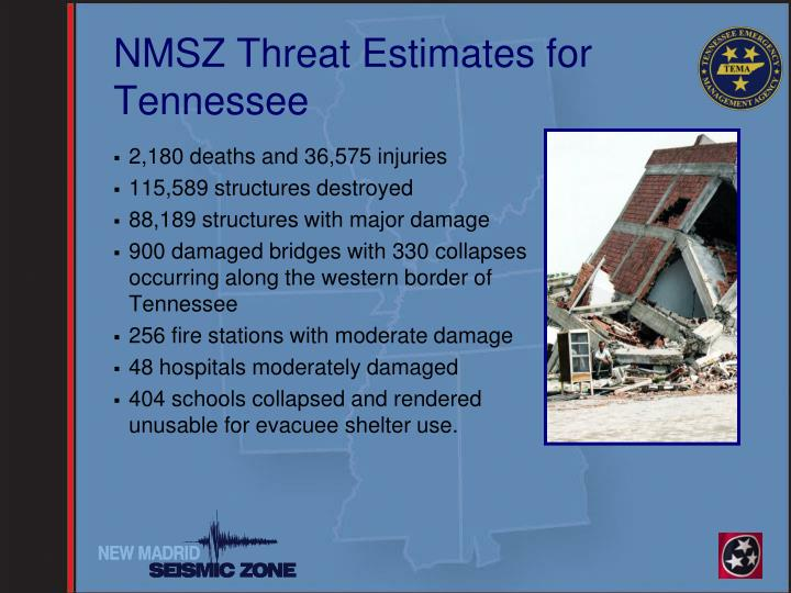 NMSZ Threat Estimates for Tennessee