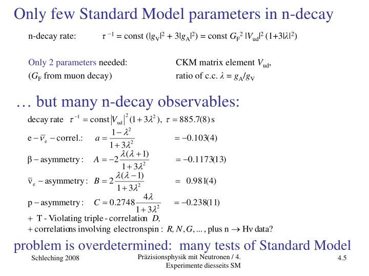 Only few Standard Model parameters in n-decay