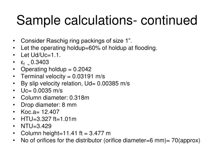Sample calculations- continued
