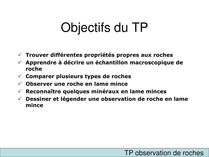 Objectifs du TP