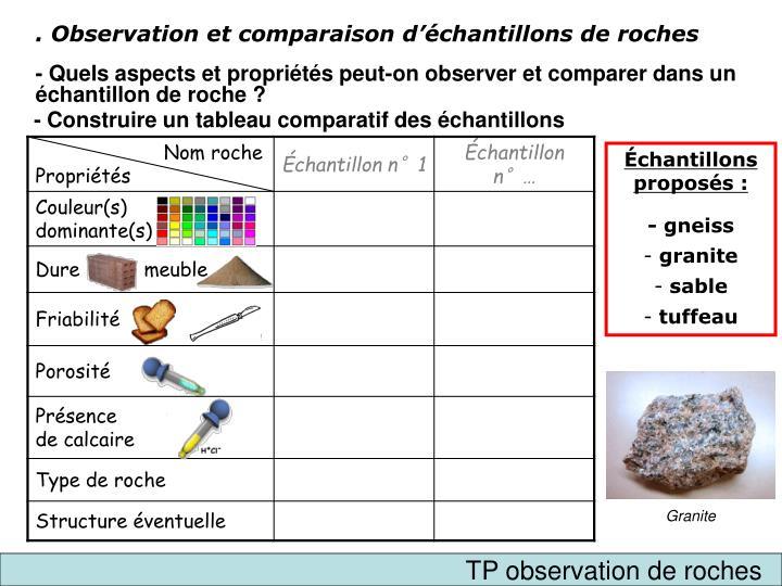 . Observation et comparaison d'échantillons de roches