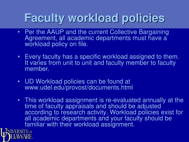 Faculty workload policies