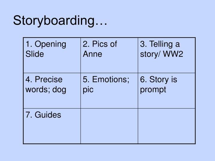 Storyboarding…