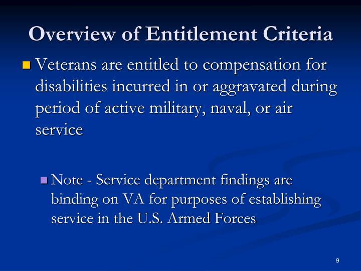 Overview of Veterans Benefits