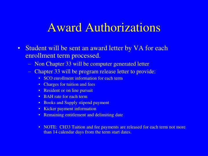 Award Authorizations