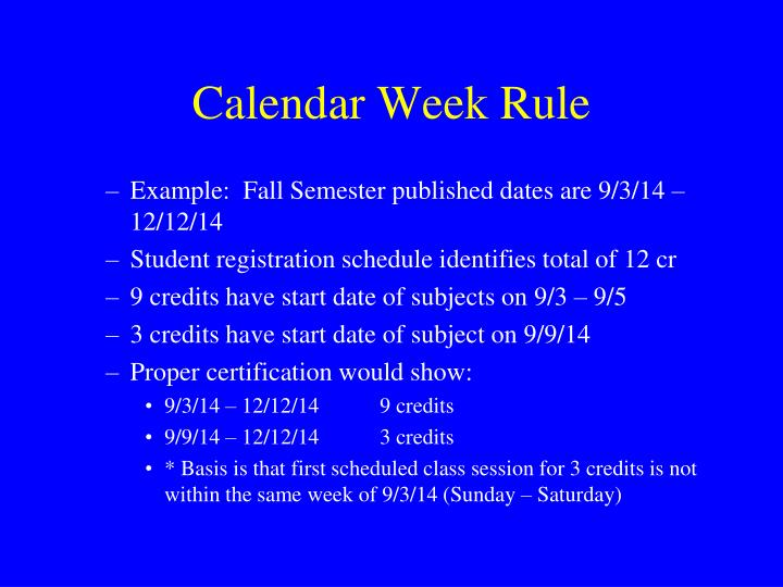 Calendar Week Rule