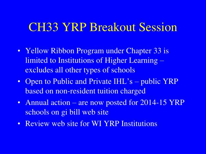 CH33 YRP Breakout Session