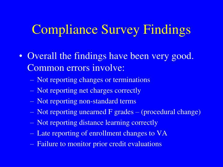 Compliance Survey Findings