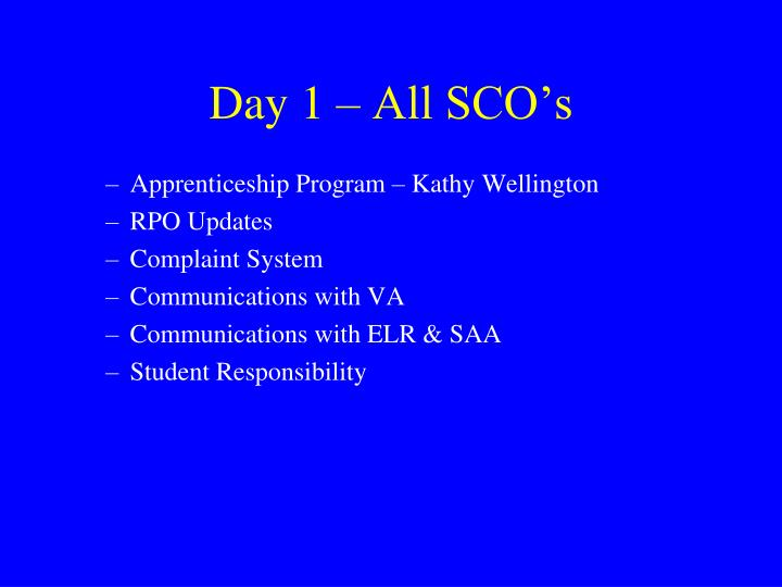 Day 1 – All SCO's