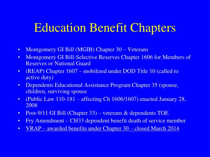 Education Benefit Chapters