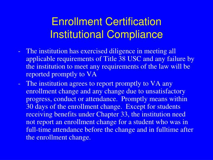 Enrollment Certification
