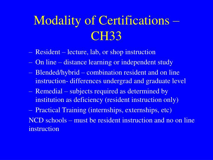Modality of Certifications – CH33
