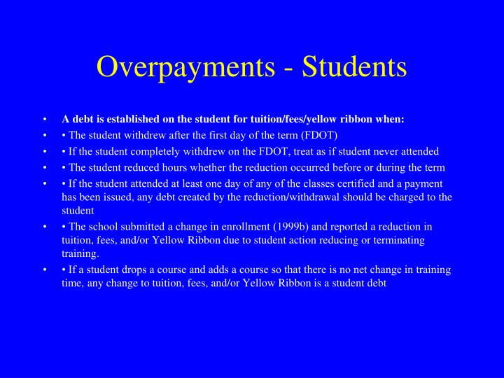 Overpayments - Students