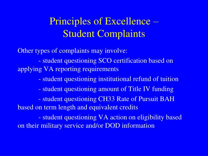 Principles of Excellence –